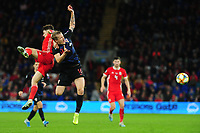 Tin Jedvaj of Croatia is fouled by Daniel James of Wales during the UEFA Euro 2020 Qualifier between Wales and Croatia at the Cardiff City Stadium in Cardiff, Wales, UK. Sunday 13 October 2019