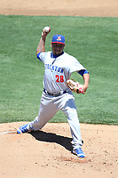 Angel Duno (28) of the Stockton Ports pitches against the Rancho Cucamonga Quakes at LoanMart Field on May 28, 2017 in Rancho Cucamonga, California. Stockton defeated Rancho Cucamonga, 7-4. (Larry Goren/Four Seam Images)