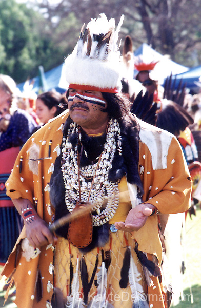 Gabrieleno/Tongva Chief dances at the California State University Long Beach Pow Wow in Long Beach, CA