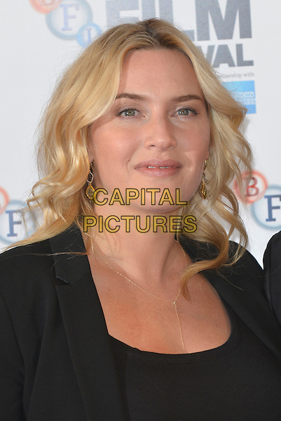 Kate Winslet  <br /> 'Labor Day' photocall during the 57th BFI London Film Festival at The Mayfair Hotel, London, England.<br /> 14th October 2013 <br /> headshot portrait black  <br /> CAP/PL<br /> &copy;Phil Loftus/Capital Pictures