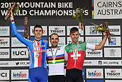 9th September 2017, Smithfield Forest, Cairns, Australia; UCI Mountain Bike World Championships; First place Nino Schurter (SUI) riding for Scott-Sram MTB Racing Team, second place Jaroslav Kulhavy (CZE) riding for Specialized Racing Team and third place Lukas Flueckiger (SUI) riding for BMC Mountainbike Racing Team on the podium for the elite mens cross country race;