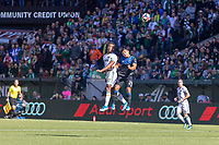 Portland, Oregon - Sunday October 6, 2019: Jeremy Ebobisse #17 challenges for a header with Nick Lima #24 during a regular season match between Portland Timbers and San Jose Earthquakes at Providence Park in Portland, Oregon.