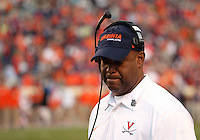 Virginia head coach Mike London reacts to another Clemson touchdown during the game Saturday at Scott Stadium in Charlottesville, VA. Clemson defeated Virginia 59-10.  Photo/Andrew Shurtleff