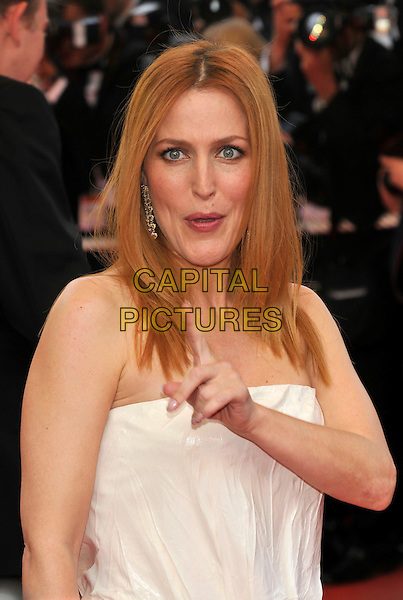 """GILLIAN ANDERSON.at the screening of """"Blindness"""", the opening film at the.61st Cannes International  Film Festival .14th May 2008 .gala premiere portrait headshot white cream strapless finger .CAP/PL.© Phil Loftus/Capital Pictures"""