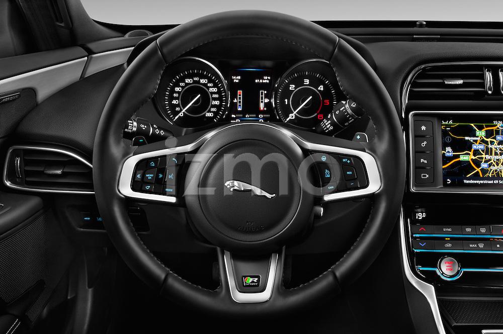 Car pictures of steering wheel view of a 2015 Jaguar XE R-Sport 4 Door Sedan Steering Wheel