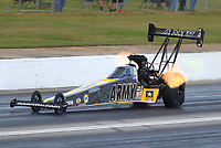 May 6, 2017; Commerce, GA, USA; NHRA top fuel driver Tony Schumacher during qualifying for the Southern Nationals at Atlanta Dragway. Mandatory Credit: Mark J. Rebilas-USA TODAY Sports