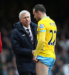 Crystal Palace's Alan Pardew looks on concerned after Jordan Mutch goes off injured<br /> <br /> Barclays Premier League - West Ham United  vs Crystal Palace  - Upton Park - England - 28th February 2015 - Picture David Klein/Sportimage