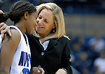 02 February 2008:  Air Force head coach, Ardie McInelly, encourages guard Jamie Davie during the Falcons 67-49 loss to TCU at Clune Arena, Air Force Academy, Colorado Springs, Colorado.