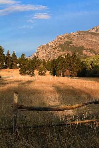 A rail fence in the Bitterroot Valley with the Bitterroot Mountains nearby