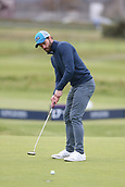 6th October 2017, Carnoustie Golf Links, Carnoustie, Scotland; Alfred Dunhill Links Championship, second round; Actor Jamie Dornan putts on the 16th green during the second round at the Alfred Dunhill Links Championship on the Championship Links, Carnoustie