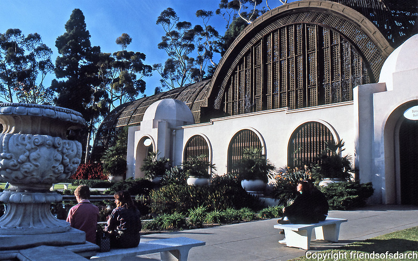 Balboa Park: Botanical Building and Gardens.  Photo 1987.