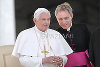 Pope Benedict XVI Monsignor Georg Gänswein during his weekly general audience in St. Peter square at the Vatican, Wednesday. 9 May, 2012