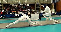 BOGOTA - COLOMBIA - 26 - 05 - 2017: Sung Ho An (Izq.) de Corea, combate con Alexis Bayard (Der.) de Suiza, durante Varones Mayores Epee del Gran Prix de Espada Bogota 2017, que se realiza en el Centro de Alto Rendimiento en Altura, del 26 al 28 de mayo del presente año en la ciudad de Bogota.  / Sung Ho An (L) from Korea, fights with Alexis Bayard (R) from Switzerland, during Senior Men´s Epee of the Grand Prix of Espada Bogota 2017, that takes place in the Center of High Performance in Height, from the 26 to the 28 of May of the present year in The city of Bogota.  / Photo: VizzorImage / Luis Ramirez / Staff.