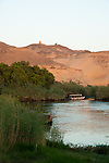 A boat in the early morning on the Nile River