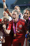 Olympique Lyonnais' Amandine Henry (l) and Sarah Bouhaddi celebrate the victory in the UEFA Women's Champions League 2015/2016 Final match.May 26,2016. (ALTERPHOTOS/Acero)