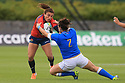 BELFAST, NORTHERN IRELAND - AUGUST 26: Spain's Maria Ribera tackles Italy's Melissa Bettoni during a final play off  in the Women's World Cup Rugby 2017 at Queen's  University Belfast, Saturday,  August 26, 2017. Photo/Paul McErlane
