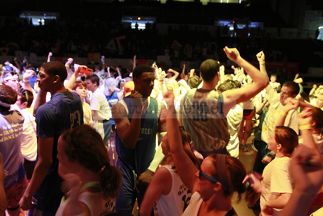 Members of the UK men's basketball team surprised everyone and came in to partake in part of the line dance with students at DanceBlue on March 3, 2012 in Memorial Coliseum.