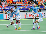 The Hague, Netherlands, June 15: Matias Paredes #10 of Argentina scores a field goal to give Argentina a 2-0 lead during the field hockey bronze match (Men) between Argentina and England on June 15, 2014 during the World Cup 2014 at Kyocera Stadium in The Hague, Netherlands. Final score 2-0 (0-0)  (Photo by Dirk Markgraf / www.265-images.com) *** Local caption *** Matias Paredes #10 of Argentina, Juan Martin Lopez #17 of Argentina, Juan Ignacio Gilardi #4 of Argentina, Manuel Brunet #24 of Argentina