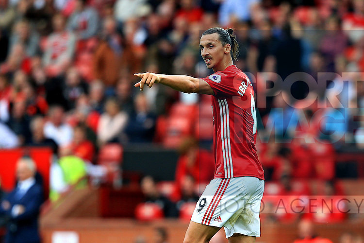 Zlatan Ibrahimovic of Manchester United points during the Premier League match at Old Trafford Stadium, Manchester. Picture date: September 24th, 2016. Pic Sportimage