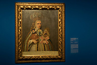An artwork by Mexican painter Frida Kahlo titled Votiue Picture of M. Maria Anna Josefa de San Ignacio is seen on display at the Frida Kahlo exhibition in the National Gallery in Budapest, Hungary on July 5, 2018. ATTILA VOLGYI