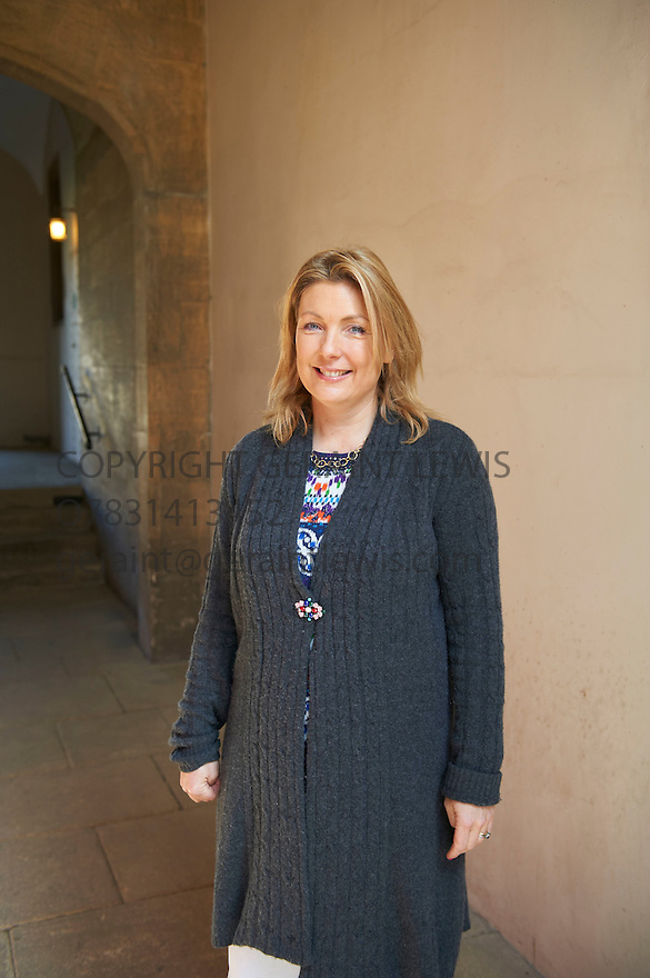 Lady Fiona Carnavon writer  at The Oxford Literary Festival at Christchurch College Oxford  . Credit Geraint Lewis