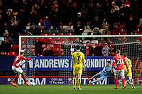 Lyle Taylor scores Charlton's opening goal from the penalty spot during Charlton Athletic vs Burton Albion, Sky Bet EFL League 1 Football at The Valley on 12th March 2019