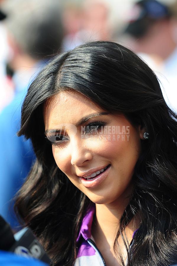 May 30, 2010; Indianapolis, IN, USA; Kim Kardashian during the Indianapolis 500 at the Indianapolis Motor Speedway. Mandatory Credit: Mark J. Rebilas-