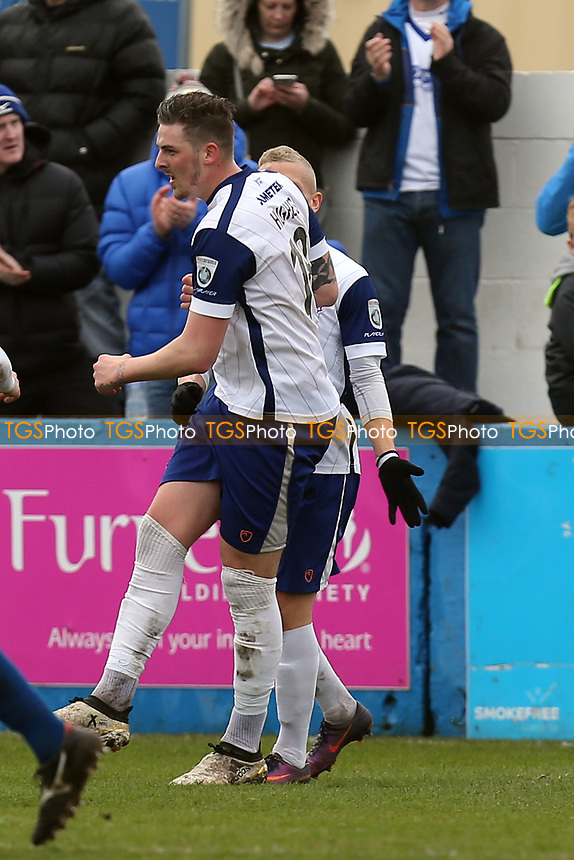 Liam Hughes of Barrow is congratulated after scoring the opening Barrow goal during Barrow vs Dagenham & Redbridge, Vanarama National League Football at the Furness Building Society Stadium on 18th March 2017