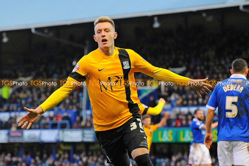 Joe Pigott of Southend United scores the second goal and starts to celebrate - Portsmouth vs Southend - Sky Bet League Two Football at Fratton Park, Portsmouth, Hampshire - 24/01/15 - MANDATORY CREDIT: Denis Murphy/TGSPHOTO - Self billing applies where appropriate - contact@tgsphoto.co.uk - NO UNPAID USE