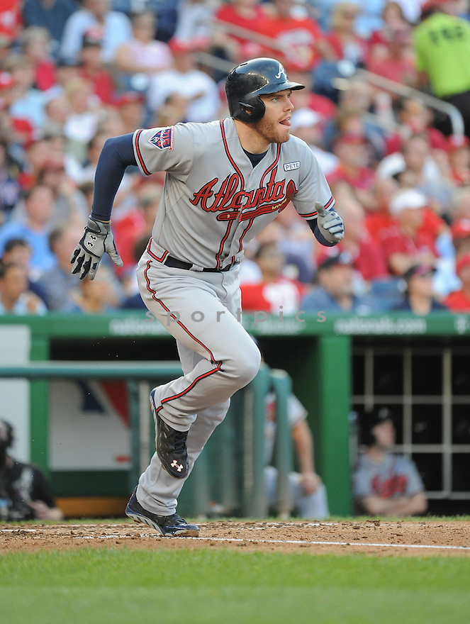 Atlanta Braves Freddie Freeman (5) during a game against the Washington Nationals on September 10, 2014 at Nationals Park in Washington DC. The Braves beat the Nationals 6-2.