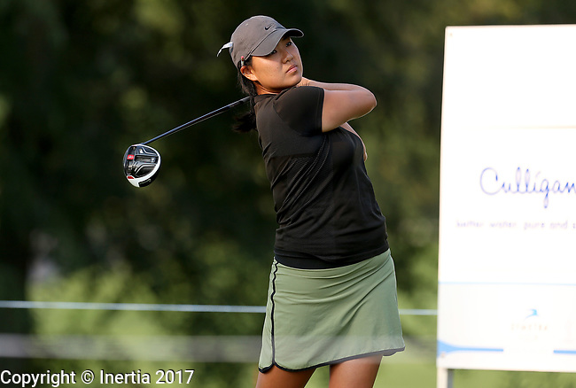 SIOUX FALLS, SD - SEPTEMBER 3: Nicole Sakamoto watches her tee shot on the first hole during the final round of the 2017 Great Life Challenge Symetra Tour stop at Willow Run in Sioux Falls.  (Photo by Dave Eggen/Inertia)
