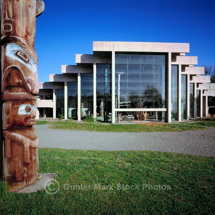 Kwakwaka'wakw (Kwakiutl) Totem Pole (Artist - Mungo Martin) and Museum of Anthropology (Architect - Arthur Erickson), University of British Columbia (UBC), Vancouver, BC, British Columbia, Canada - Memorial Pole of Chief Kalilix