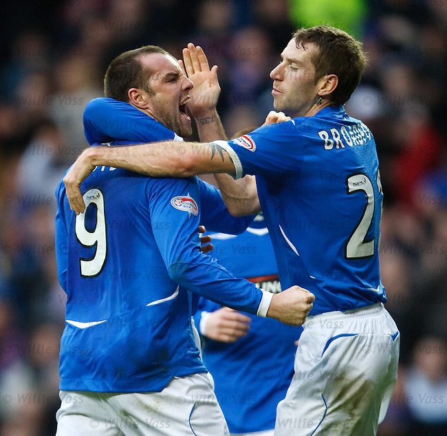 Kris Boyd celebrates his goal with Kirk Broadfoot