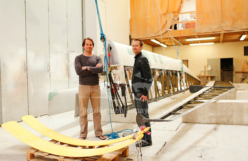 Restoration of the C Class Catamaran Patient Lady VI under the conduct of Benjamin Muyl, Herve Penformis, Axel de Beaufort and Sam Thomas at the Ecole Nationale de Voile, Saint Pierre Quiberon, Brittany, France.