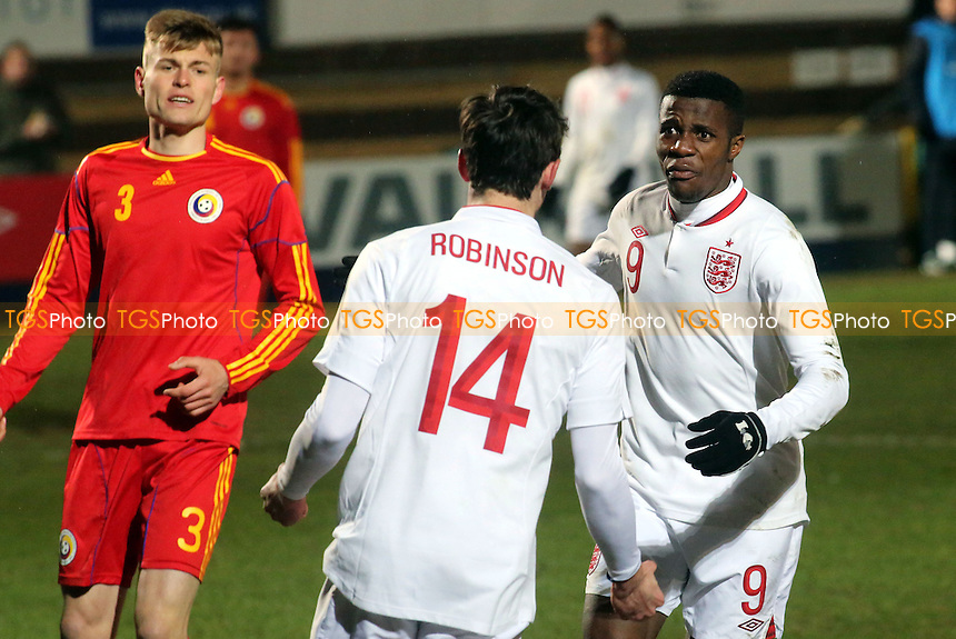 Jack Robinson celebrates his England goal with Wilfried Zaha - England Under-21 vs Romania Under-21 - International Football at Adams Park, High Wycombe - 21/03/13 - MANDATORY CREDIT: Paul Dennis/TGSPHOTO - Self billing applies where appropriate - 0845 094 6026 - contact@tgsphoto.co.uk - NO UNPAID USE.