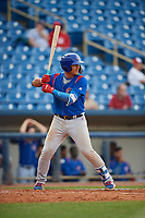 South Bend Cubs catcher Miguel Amaya (9) at bat during the first game of a doubleheader against the Lake County Captains on May 16, 2018 at Classic Park in Eastlake, Ohio.  South Bend defeated Lake County 6-4 in twelve innings.  (Mike Janes/Four Seam Images)