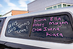 WATERTOWN, CT. 04 June 2020-060420BS224 - Parents and coaches cars are decorated with messages congratulating the seniors of the Watertown Girls Tennis team as they get ready to drive by each of the seniors homes in a Girls Tennis Team car parade on Thursday. Bill Shettle Republican-American