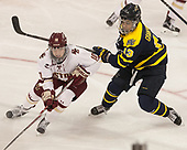 Kali Flanagan (BC - 10), Mikyla Grant-Mentis (Merrimack - 13) - The number one seeded Boston College Eagles defeated the eight seeded Merrimack College Warriors 1-0 to sweep their Hockey East quarterfinal series on Friday, February 24, 2017, at Kelley Rink in Conte Forum in Chestnut Hill, Massachusetts.The number one seeded Boston College Eagles defeated the eight seeded Merrimack College Warriors 1-0 to sweep their Hockey East quarterfinal series on Friday, February 24, 2017, at Kelley Rink in Conte Forum in Chestnut Hill, Massachusetts.