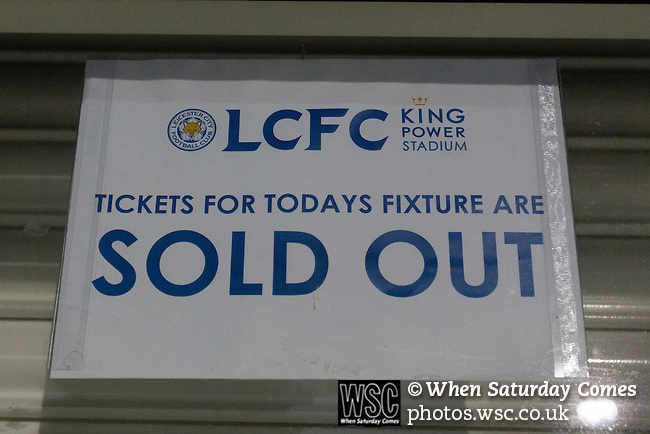 Leicester City 0 Manchester City 0, 29/12/2015. King Power Stadium, Premier League. Sold out signs on a ticket office at The King Power Stadium Leicester, before the goalless draw between Leicester City and Manchester City. Photo by Paul Thompson.