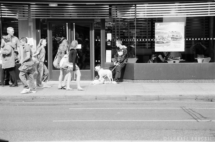 Boy with Dogs out McDonalds, Camden Town