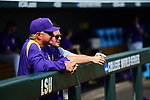 OMAHA, NE - JUNE 26: Louisiana State University head coach Paul Mainieri looks on as the Tigers prepare to take on the University of Florida during the Division I Men's Baseball Championship held at TD Ameritrade Park on June 26, 2017 in Omaha, Nebraska. The University of Florida defeated Louisiana State University 4-3 in game one of the best of three series. (Photo by Justin Tafoya/NCAA Photos via Getty Images)