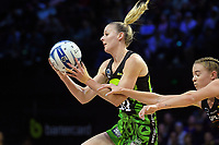 Katrina Rore takes a pass during the ANZ Premiership netball match between Central Pulse and WBOP Magic at TSB Bank Arena in Wellington, New Zealand on Sunday, 21 April 2019. Photo: Dave Lintott / lintottphoto.co.nz