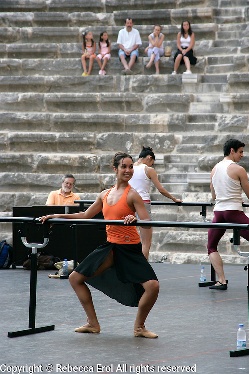 Tara Bhavnani in class with London's Royal Ballet on the stage of the open-air Aspendos Theatre, Antalya, Turkey