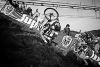 race leaders Wout Van Aert (BEL/Vastgoedservice-Golden Palace) &amp; Michael Vanthourenhout (BEL/Sunweb-Napoleon Games) almost crawling up &quot;Le Mur&quot; de Francorchamps (50% gradient!) <br /> <br /> Superprestige Francorchamps 2014