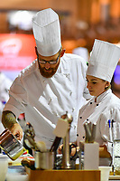 Melbourne, 30 May 2017 - Andrew Ballard of the Simmer Culinary in Mornington prepares potatoes at the Australian selection trials of the Bocuse d'Or culinary competition held during the Food Service Australia show at the Royal Exhibition Building in Melbourne, Australia. Photo Sydney Low