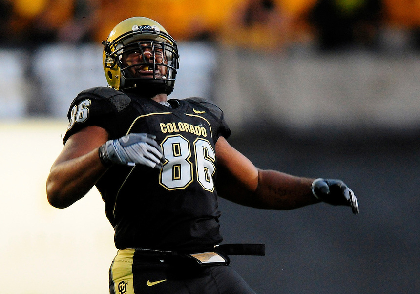 04 October 2008: Colorado defensive tackle George Hypolite celebrates a sack against Texas. The Texas Longhorns defeated the Colorado Buffaloes 38-14 at Folsom Field in Boulder, Colorado. For Editorial Use Only