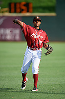 Altoona Curve third baseman Ke'Bryan Hayes (10) warms up before a game against the Richmond Flying Squirrels on May 15, 2018 at Peoples Natural Gas Field in Altoona, Pennsylvania.  Altoona defeated Richmond 5-1.  (Mike Janes/Four Seam Images)