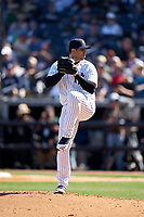 New York Yankees pitcher Luis Cessa (85) during a Spring Training game against the Toronto Blue Jays on February 22, 2020 at the George M. Steinbrenner Field in Tampa, Florida.  (Mike Janes/Four Seam Images)