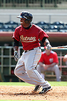 Houston Astros second baseman Delino DeShields #4 during an Instructional League game against the Washington Nationals at Osceola County Stadium on September 26, 2011 in Kissimmee, Florida.  (Mike Janes/Four Seam Images)