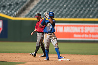 Kansas City Royals second baseman Ricky Aracena (2) stands on second base after hitting a double during an Instructional League game against the Arizona Diamondbacks at Chase Field on October 14, 2017 in Scottsdale, Arizona. (Zachary Lucy/Four Seam Images)